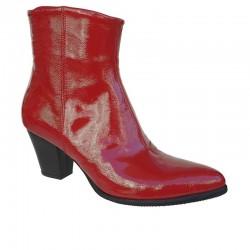 Noula 1908 Κόκκινα Γυναικεία Μποτάκια Western look