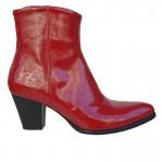 Western look Γυναικεία Μποτάκια  Noula 1908 Κόκκινο Δέρμα Λουστρίνι