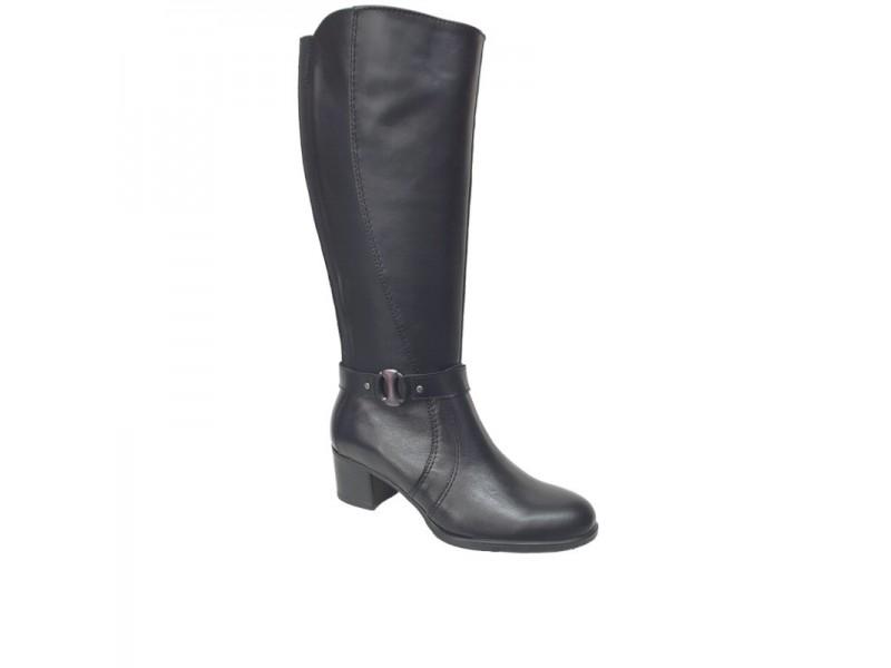 Δερμάτινες Γυναικείες Μπότες | SOFTIES 7161 Μαύρο