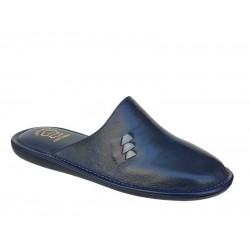 Zak - Fame 5066 Μπλε Δερμάτινες Ανδρικές Παντόφλες