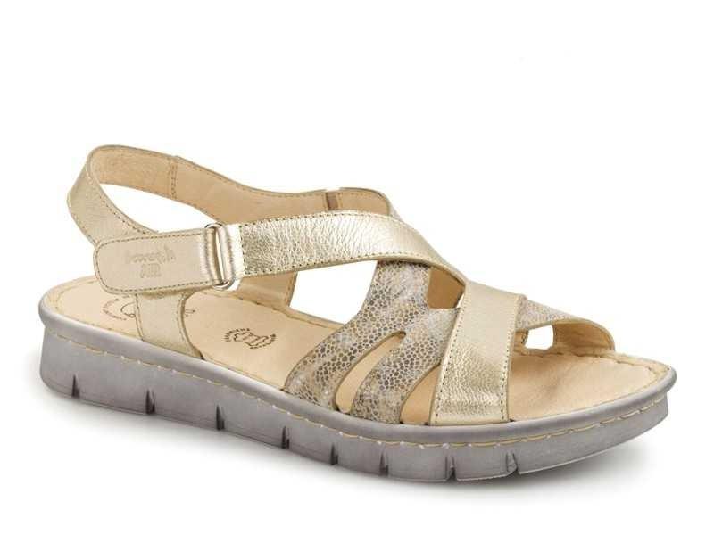 Δερμάτινα Παπούτσια Boxer 82580 17-662 Χρυσό Γυναικεία Πέδιλα