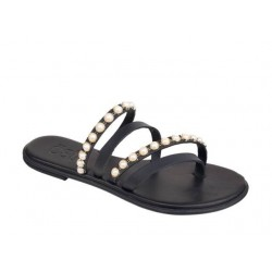 Δερμάτινα  Παπούτσια ESTE 10104 Μαύρο - Πέρλα Γυναικεία Πέδιλα