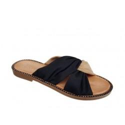 Δερμάτινα  Παπούτσια ESTE 16134 Μπεζ - Μαύρο Γυναικεία Πέδιλα