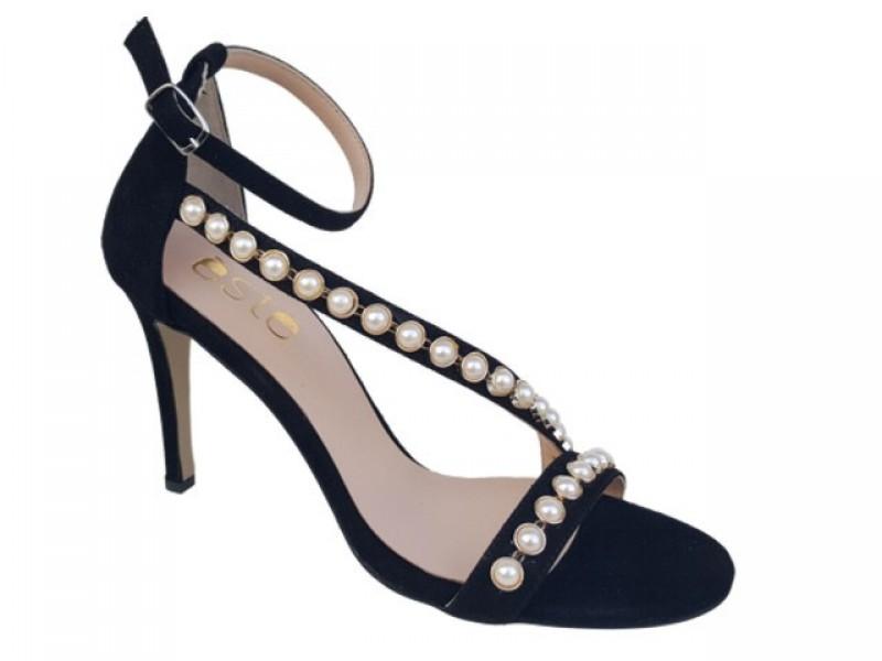 Δερμάτινα  Παπούτσια ESTE 90412 Μαύρα Γυναικεία Πέδιλα