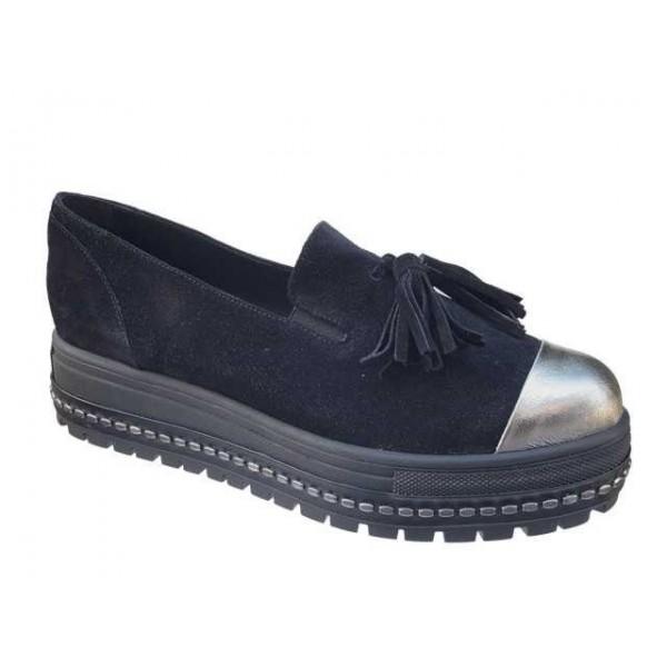 Δερμάτινα  Παπούτσια FnDONNA 15398 Μαύρα Μοκασίνια - Loafers