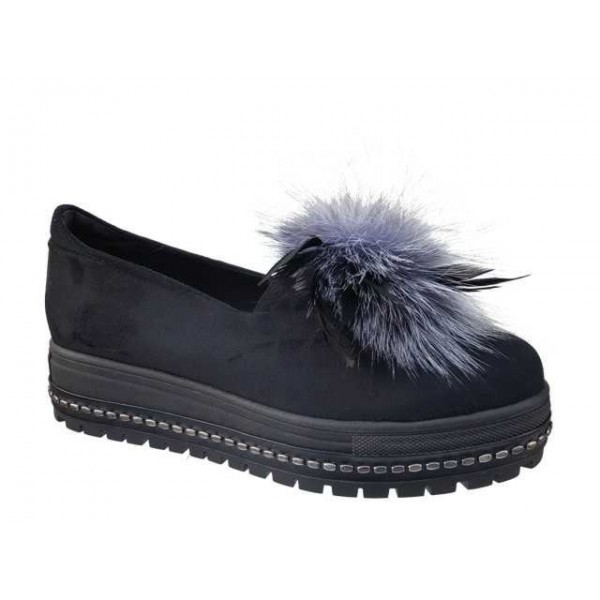Γυναικεία Παπούτσια FnDONNA 15865 Μαύρα Μοκασίνια - Loafers
