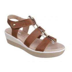 Γυναικεία Παπούτσια SOFTIES 9237  Ταμπά - Χρυσό Δερμάτινα Πέδιλα