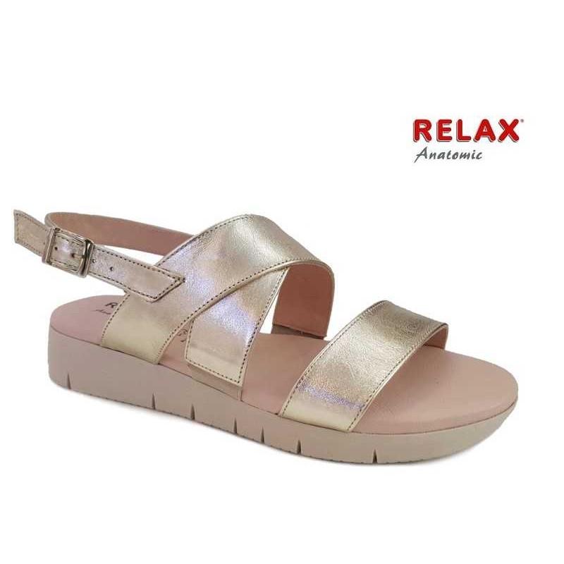 -25% Δερμάτινα Παπούτσια Relax anatomic 10803-55 Χρυσό Γυναικεία Πέδιλα b2c97ae90e2