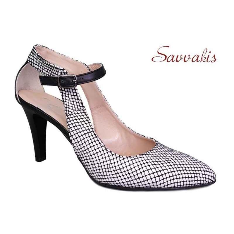 4c690309cef -44% Δερμάτινα παπούτσια SAV 7001 Λευκό φίδι Γυναικεία Πέδιλα