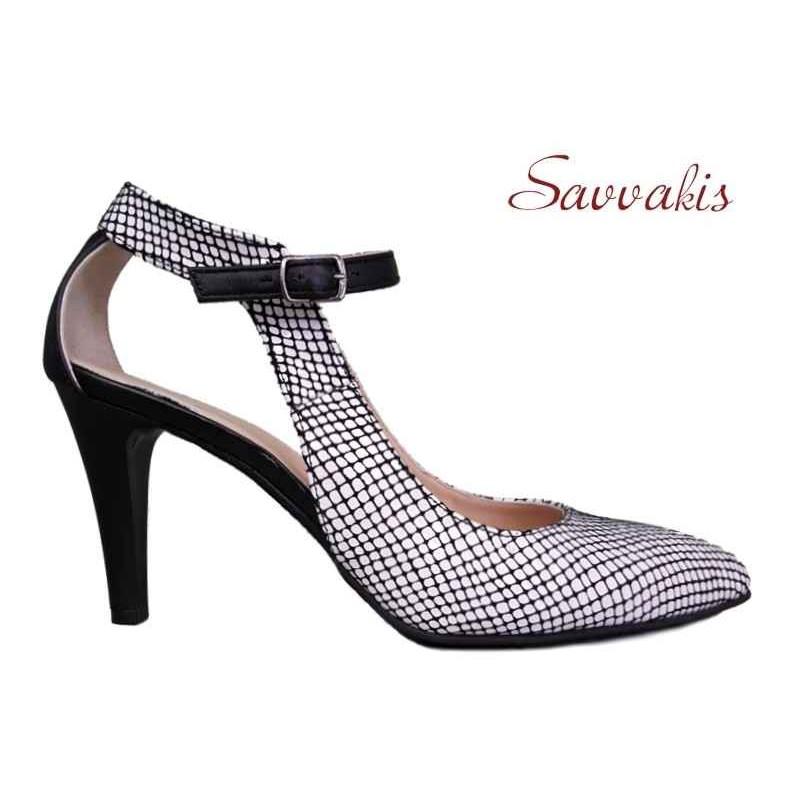 eb008a14fcb ... Δερμάτινα παπούτσια SAV 7001 Λευκό φίδι Γυναικεία Πέδιλα