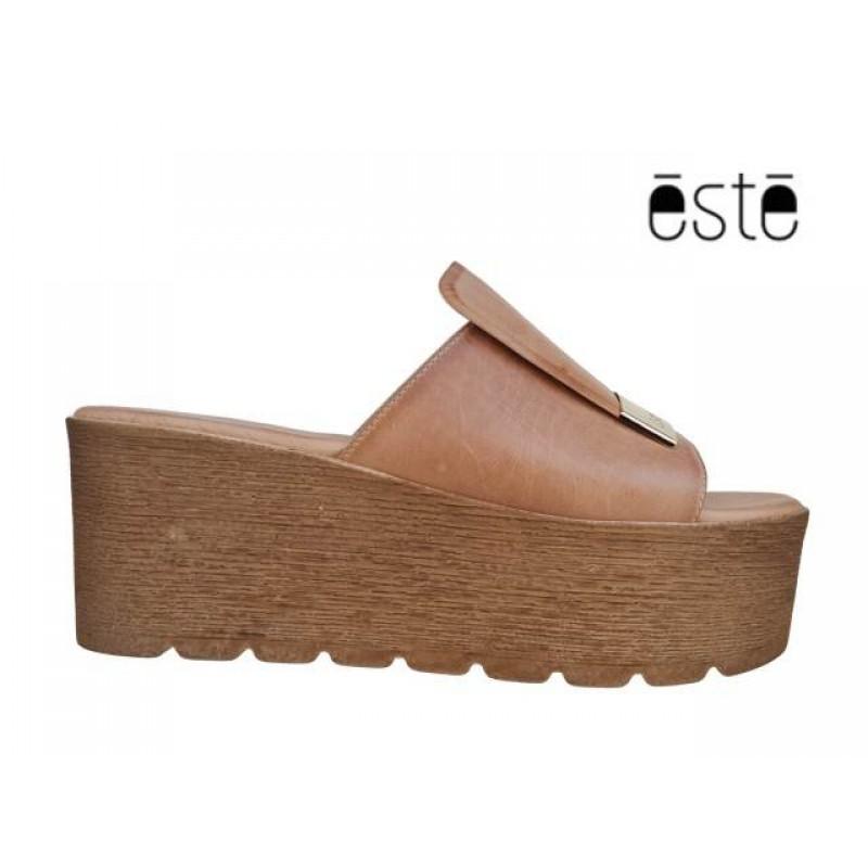 cffc725188c ... Δερμάτινα Παπούτσια ESTE 50108 Φυσικό - Κάμελ Mule - Πλατφόρμα ...