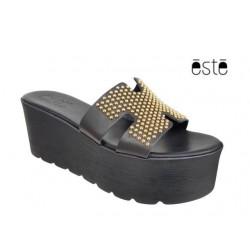 Δερμάτινα  Παπούτσια ESTE 50137 Μαύρο Mule - Πλατφόρμα