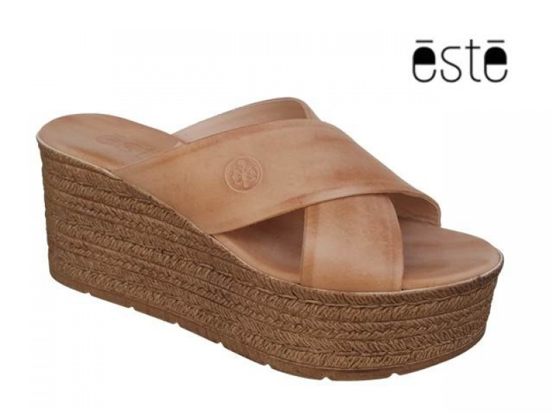 da4ff95af14 -20% Δερμάτινα Παπούτσια ESTE 62121 Φυσικό Mules - Πλατφόρμες