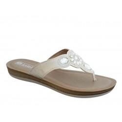 INBLU BAABOO01 Λευκές Γυναικείες Παντόφλες - Σανδάλια