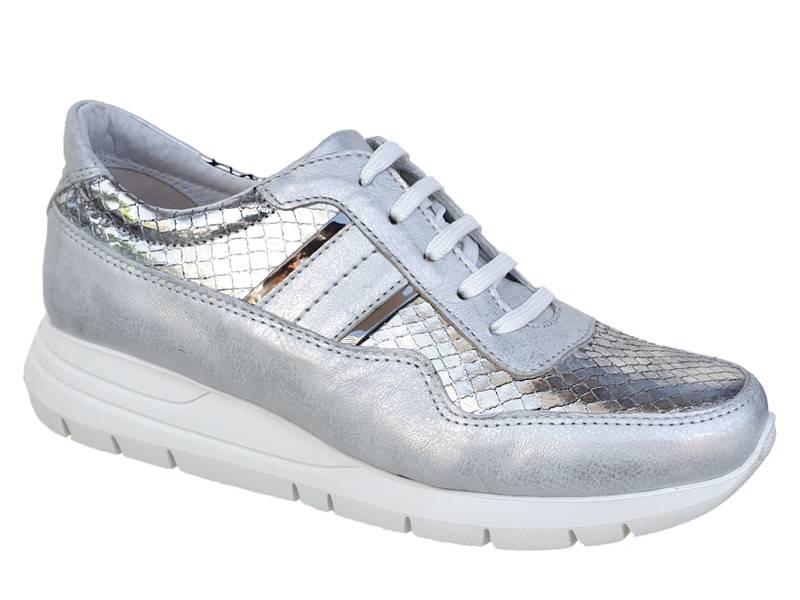 SOFTIES 7954 Ασημί Γυναικεία Αατομικά Sneakers | Papoutsomania.gr