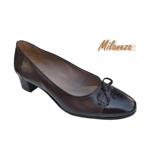 Milaneza 3530 Καφέ δέρμα - Λουστρίνι