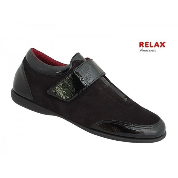 Δερμάτινα Παπούτσια Relax anatomic 8307-32 Μαύρα Γυναικεία Μοκασίνια