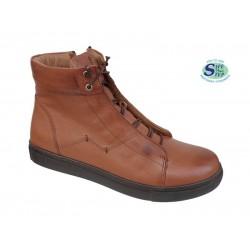 Γυναικεία Παπούτσια SAFE STEP 18407 Ταμπά Δερμάτινα Μποτάκια