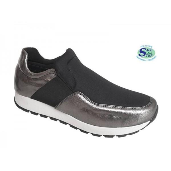 Γυναικεία Παπούτσια SAFE STEP K7 silver - black Spor Δερμάτινα