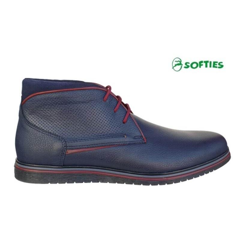 7479302caf6 SOFTIES 6922 Μπλε Ανδρικά Μποτάκια Κορδόνια - Ανδρικά Παπούτσια