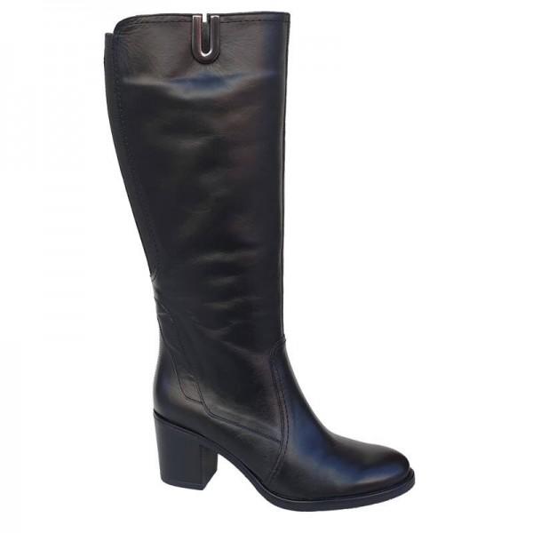 Δερμάτινα Παπούτσια SOFTIES 7105 Μαύρες Γυναικείες Μπότες